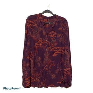 NWT Free People Button Up Purple Tunic Blouse